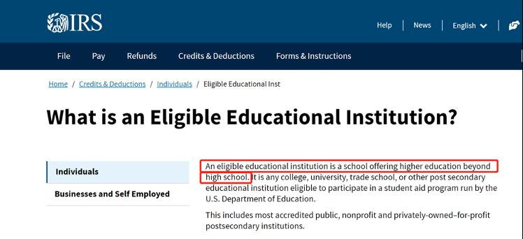 Eligible Educational Institution